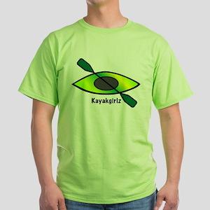 Kayakgirlz Lime Green Kayak on T-Shirt