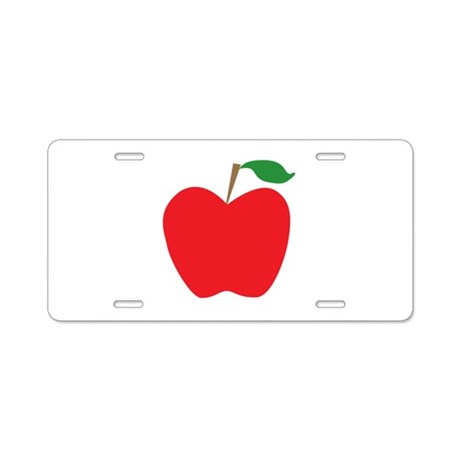Red Apple Aluminum License Plate