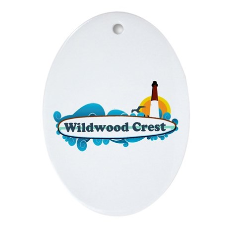 Wildwood Crest NJ - Surf Design Ornament (Oval)