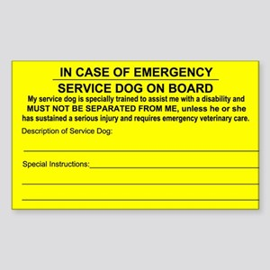 Service Dog on Board In case of Emergency Sticker