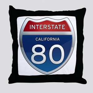 Interstate 80 - California Throw Pillow