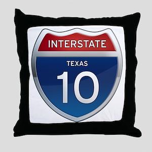 Interstate 10 - Texas Throw Pillow