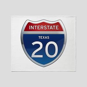 Interstate 20 - Texas Throw Blanket