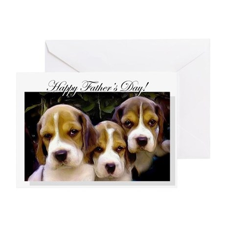 Father's Day Beagle puppies Greeting Card