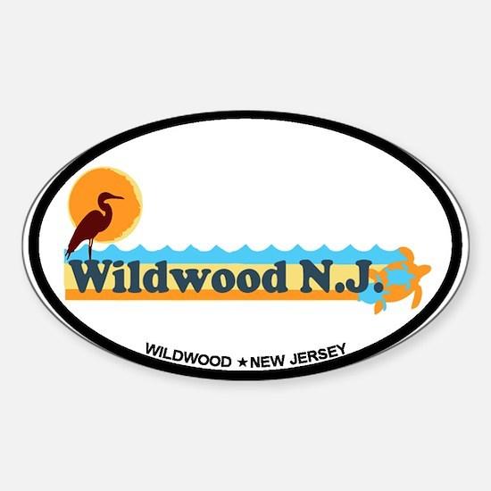Wildwood NJ - Beach Design Sticker (Oval)