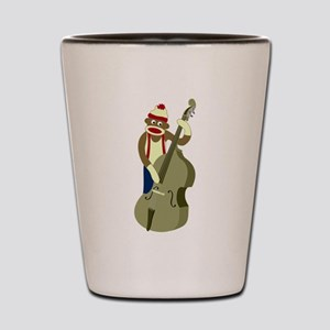 Sock Monkey Bass Player Shot Glass