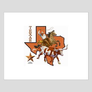 Texas Cowboy & Longhorn Small Poster
