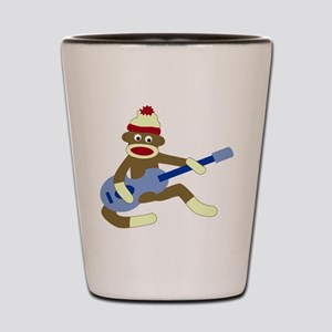 Sock Monkey Blue Guitar Shot Glass