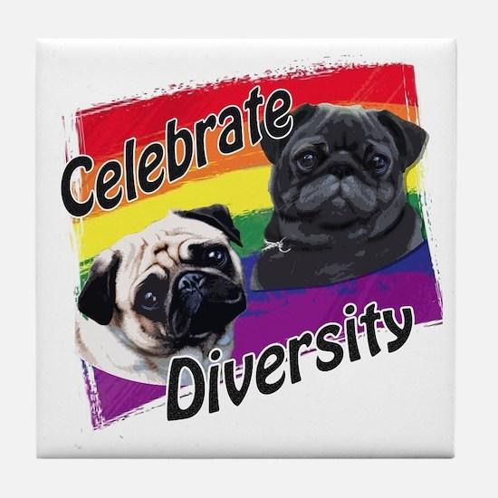 Celebrate Diversity Rainbow P Tile Coaster