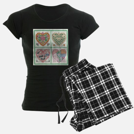 4-Hearts Cross-Stitch Pajamas