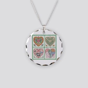4-Hearts Cross-Stitch Necklace Circle Charm