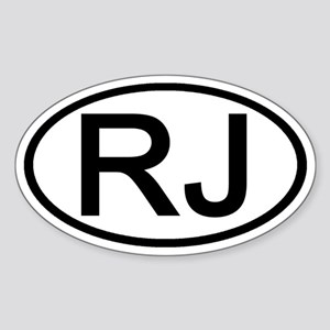 RJ - Initial Oval Oval Sticker