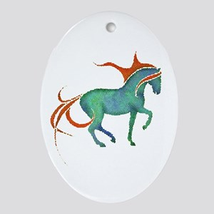 mosaic horse Oval Ornament