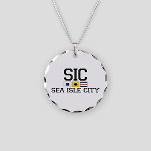 Sea Isle City NJ - Nautical Flags Necklace Circle