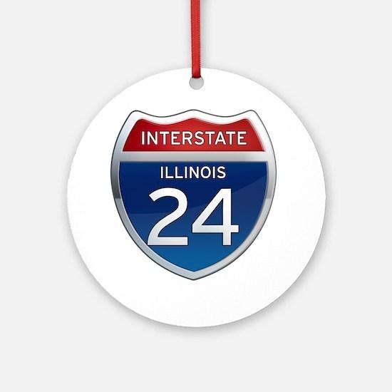 Interstate 24 - Illinois Ornament (Round)