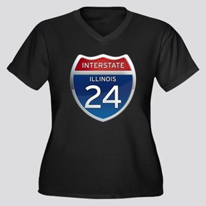 Interstate 24 - Illinois Women's Plus Size V-Neck