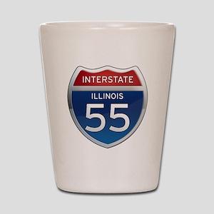 Interstate 55 - Illinois Shot Glass