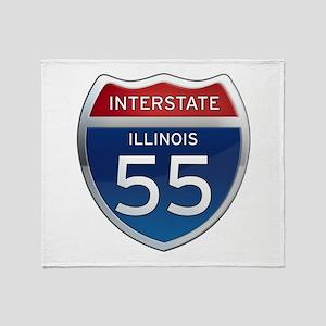 Interstate 55 - Illinois Throw Blanket