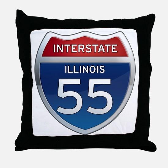 Interstate 55 - Illinois Throw Pillow