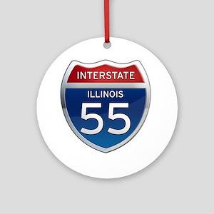 Interstate 55 - Illinois Ornament (Round)