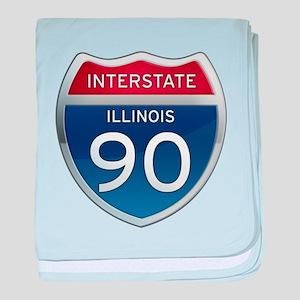 Interstate 90 - Illinois baby blanket