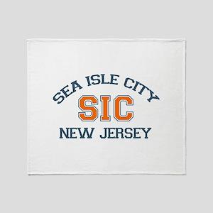 Sea Isle City NJ - Varsity Design Throw Blanket