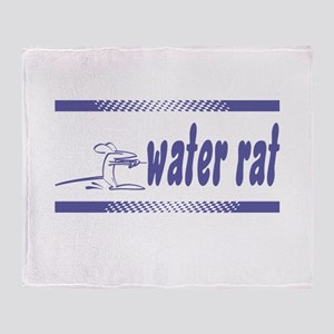 Water Rat Waterskiing Throw Blanket