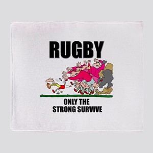 Only The Strong Rugby Throw Blanket