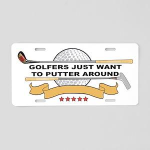 Golfers Putter Around Aluminum License Plate