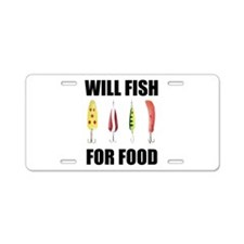 Will Fish For Food Aluminum License Plate
