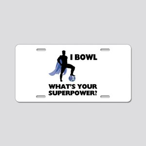 Bowling Superhero Aluminum License Plate