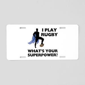 Rugby Superhero Aluminum License Plate