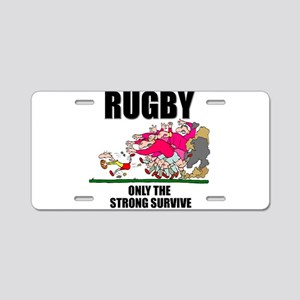 Only The Strong Rugby Aluminum License Plate
