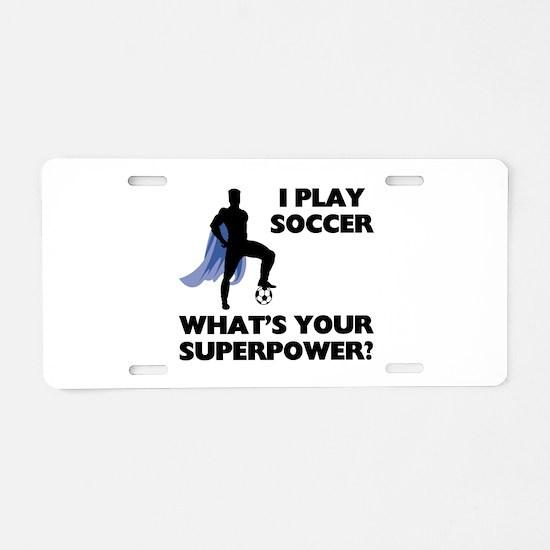Soccer Superhero Aluminum License Plate