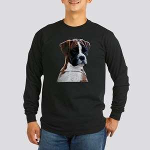 Brindle Boxer Puppy Long Sleeve Dark T-Shirt