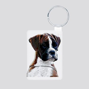 Brindle Boxer Puppy Aluminum Photo Keychain