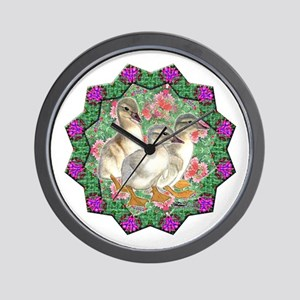 Ducklings and Flowers Wall Clock