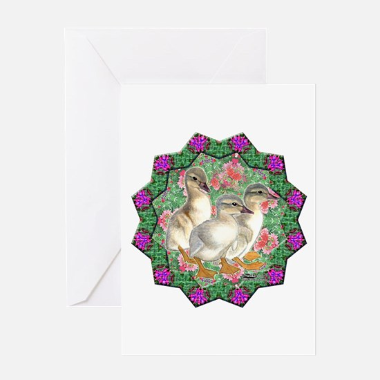 Ducklings and Flowers Greeting Card