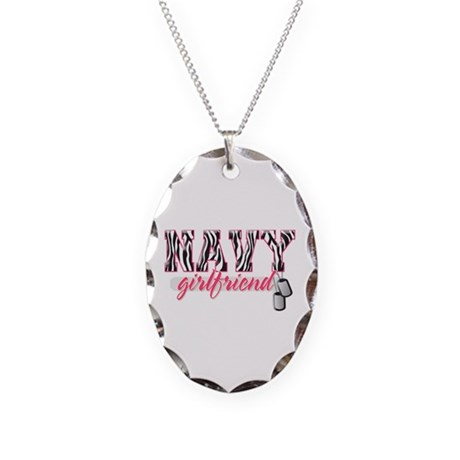 Navy Girlfriend (zebra print) Necklace Oval Charm