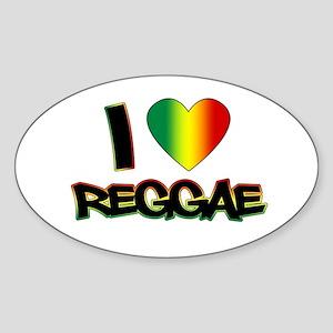 "I ""Love"" Reggae Sticker (Oval)"