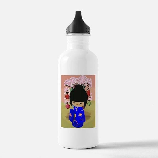 Blue Kokeshi Kawaii doll Water Bottle