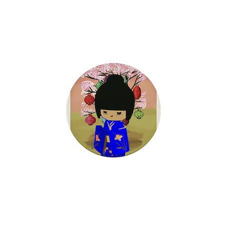 Blue Kokeshi Kawaii doll Mini Button (10 pack)