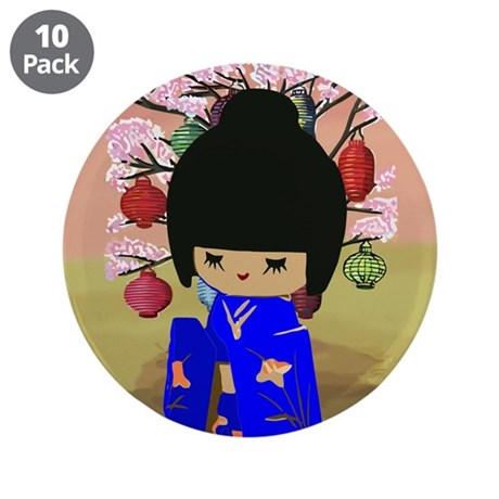 "Blue Kokeshi Kawaii doll 3.5"" Button (10 pack)"