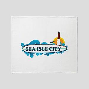 Sea Isle City NJ - Surf Design Throw Blanket