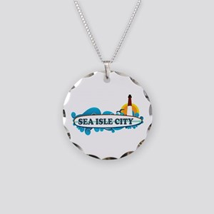 Sea Isle City NJ - Surf Design Necklace Circle Cha
