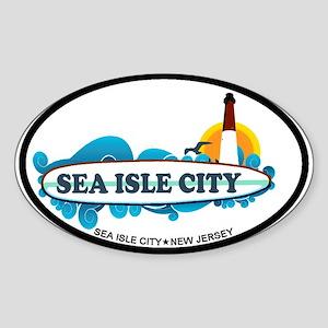 Sea Isle City NJ - Surf Design Sticker (Oval)