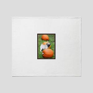 Pug in Pumpkins Throw Blanket