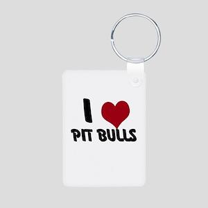 I Heart Pit Bulls Aluminum Photo Keychain