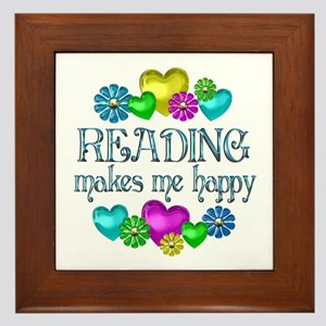 Reading Happiness Framed Tile
