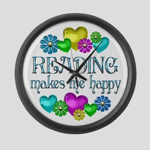 Reading Happiness Large Wall Clock